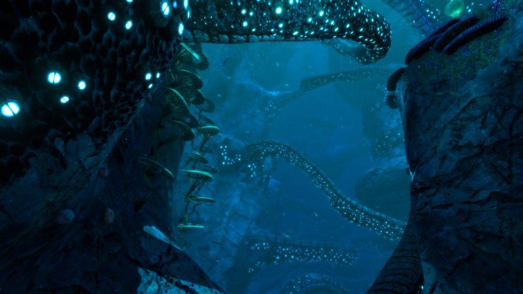 Tentáculos rocosos, bioma de Subnautica: Below Zero